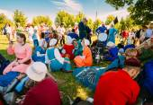 Warriors participants resting in shadow tree of VI festival of m — Stock Photo