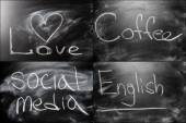 Black Chalkboard Set Collage Message Love, Cofee, Social Media — Stock Photo
