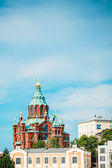 Uspenski Cathedral, Helsinki At Summer Sunny Day. Red Church In — Stock Photo