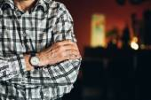 Close Up Vintage Old Watch On Man Hand. Striped Shirt — Stock Photo