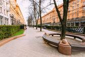 Sidewalk on Lenin Street in spring in Minsk Belarus. — Stock Photo