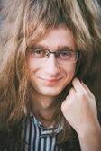 Portrait Of Hippie Hippy Young Man Guy With Glasses And Long Hai — Zdjęcie stockowe