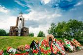 Island of Tears - Island of Courage and Sorrow, Ostrov Slyoz - a memorial dedicated to the Belarusian soldiers-internationalists who died in Afghanistan in 1979-1989. — Stock Photo
