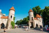 Famous Viru Gate - Part Old Town Architecture Estonian Capital, — Stock Photo