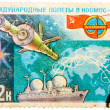 Postage Stamp Shows the International Flights in the Space — Stock Photo #69789953