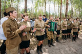 Artists dressed as Soviet Russian soldiers dance during events d — Stock Photo