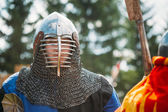Historical restoration of knightly fights on festival of medieva — Stock Photo