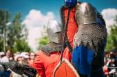 Knights In Fight With Sword. Restoration Of Knightly Battle — Stock Photo