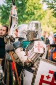 Warrior participant of VI festival of medieval culture  — Stock Photo