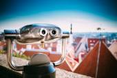Coin Operated Telescope Binocular For Sightseeing — Stock Photo