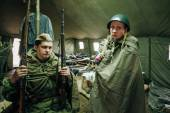 Unidentified re-enactors dressed as Soviet soldiers during event — Stock Photo