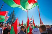 Unidentified Youth From Patriotic Party Brsm Holds Flags On The — Stock Photo
