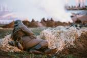 Reconstruction of Battle during events dedicated to 70th anniver — Stock Photo