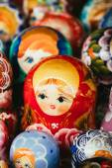 Colorful Russian Nesting Dolls Matrioshka At Market — Stock Photo