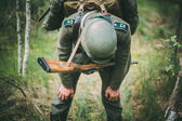 Unidentified re-enactor dressed as German soldier during events — Stock Photo