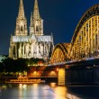 Night View Of Cologne Cathedral And Hohenzollern Bridge, Germany — Stock Photo #80698418