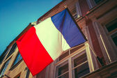 French Tricolours Flag Decorate A Local Government Building In P — Stock Photo