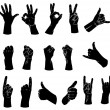 Silhouettes set of hands showing different gestures — Stock Vector #55622313