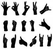 Silhouettes set of hands showing different gestures — Stockvektor