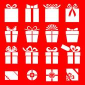 Set of gift icon on red background — Vettoriale Stock