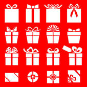 Set of gift icon on red background — Stock Vector