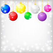 Christmas card with decorative multicolor balls — Vettoriale Stock