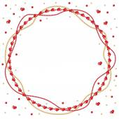 Valentine round greeting frame of gold and red beads — ストックベクタ