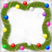 Fir Noel çerçevesinde dalları dekore edilmiş garland renkli topları bir — Stok Vektör