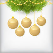 Christmas card with fir branch decorated gold balls — Stockvektor