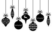 Silhouette of Christmas decorative baubles — Stockvektor