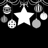 Christmas card with baubles and star on black background — Stock Vector