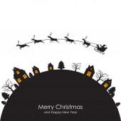 Christmas greeting card with Santa on sleigh — Stock Vector