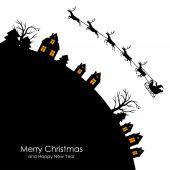 Christmas congratulatory card with Santa on sleigh — Stock Vector