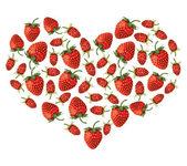 Strawberries heart — Stock Vector