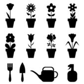 Pot flowers icons set — Stock Vector