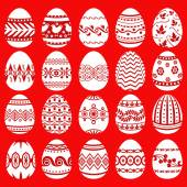 Easter eggs set on red background — Wektor stockowy