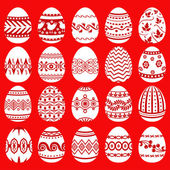 Easter eggs set on red background — 图库矢量图片