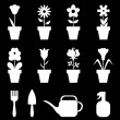 Pot flowers icons set on black background — Stock Vector #67133961