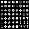 64 flowers icons set on black background — Stock Vector #67133973