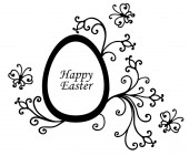Easter card with egg decorated floral elements — Stock Vector