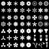 64 flowers icons set on black background — Stock Vector
