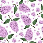Lilac branch pattern seamless — ストックベクタ