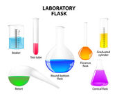 Laboratory flask on white background — Stock Vector