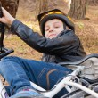 Boy and bicycle — Stock Photo #55006199