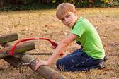 Boy ang garden — Stock Photo
