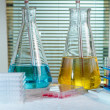 Table research laboratory with equipment chemical, test tubes, f — Stock Photo #52543781