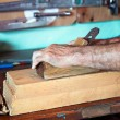 Carpenter's hands working with wood — Stock Photo #57593467