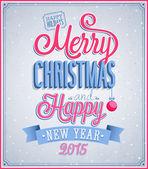 メリー クリスマスと新年あけましておめでとうございますのタイポグラフィ デザイン. — ストックベクタ