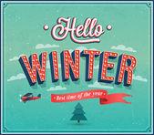 Hello winter typographic design. — Stock Vector