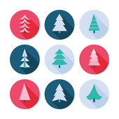 Set of Christmas trees icons. — Stock vektor